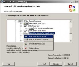 Instalare Digital Certificate for VBA Projects