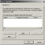 Semnarea unui document Office 2003