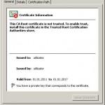 Informaţii generale într-un certificat digital