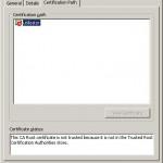 Informaţii despre calea (path) unui certificat digital