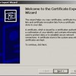 Exportul certificatului digital (Certificate Export Wizard)