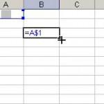 Referinţă mixtă (linia fixă) în Microsoft Excel 2003