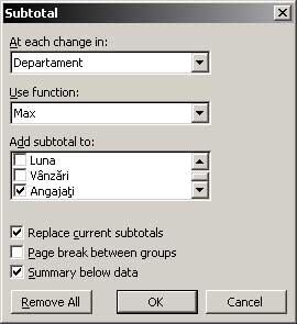 Excel Subtotal